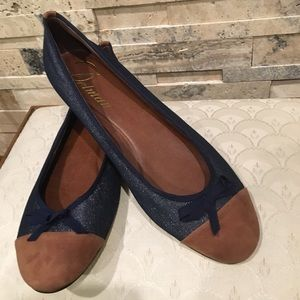 NWOT Delman denim Slip on Ballet Flats